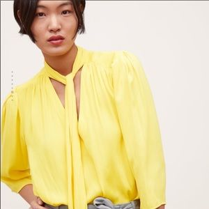 Zara Yellow Neck Tie Blouse